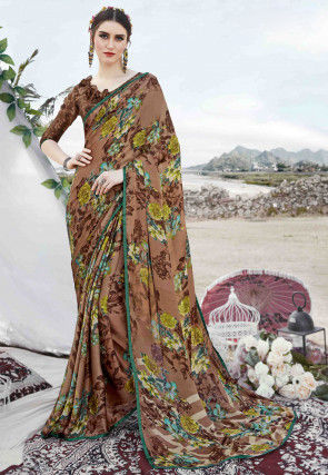 Digital Printed Satin Georgette Saree in Brown