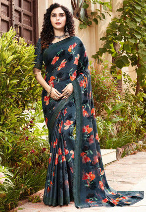 Digital Printed Satin Georgette Saree in Charcoal Black