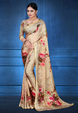 Digital Printed Satin Georgette Saree in Light Beige