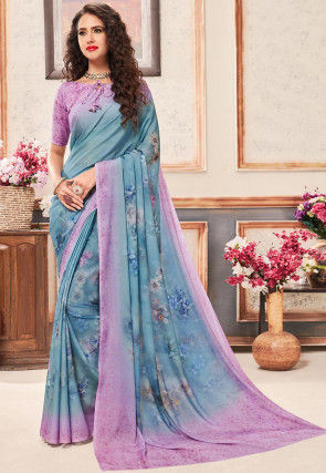 Digital Printed Satin Georgette Saree in Light Blue