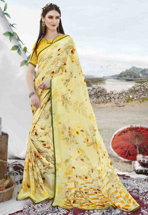 Digital Printed Satin Georgette Saree in Light Yellow