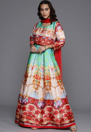 Digital Printed Satin Gown with Dupatta in Multicolor