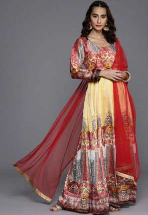 Digital Printed Satin Gown with Dupatta in Yellow