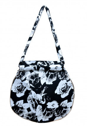 Digital Printed Satin Hand Bag in Black and White