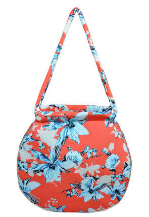 Digital Printed Satin Hand Bag in Peach