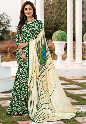 Digital Printed Satin Jacquard Saree in Green