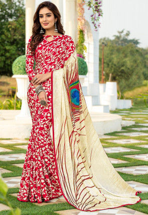 Digital Printed Satin Jacquard Saree in Red