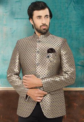 Digital Printed Satin Jodhpuri Jacket in Beige