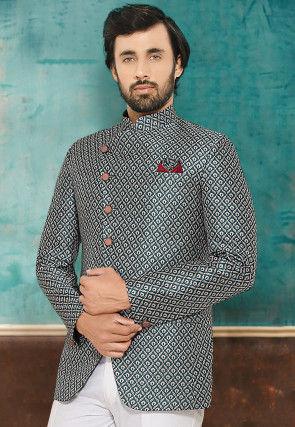 Digital Printed Satin Jodhpuri Jacket in Teal Blue