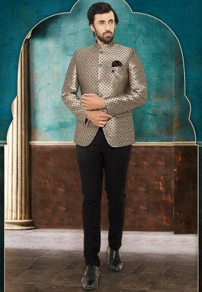 Digital Printed Satin Jodhpuri Suit in Beige