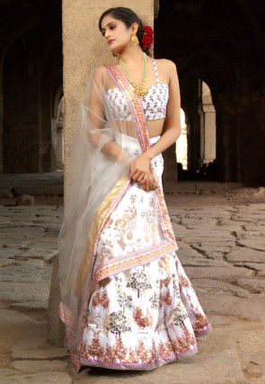 Digital Printed Satin Lehenga in Off White