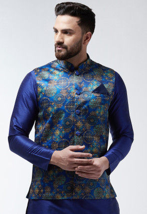 Digital Printed Satin Nehru Jacket in Dark Blue