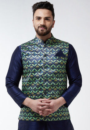 Digital Printed Satin Nehru Jacket in Navy Blue