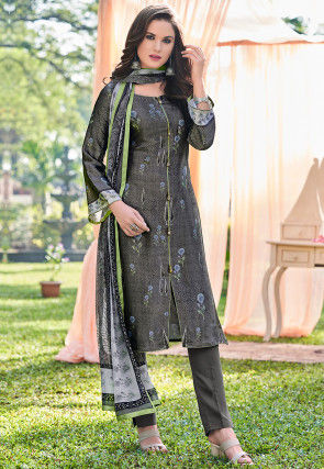 Digital Printed Satin Pakistani Suit in Dark Grey