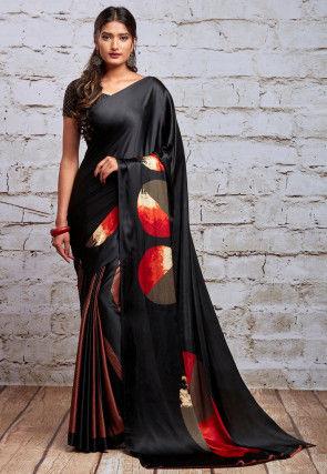 Digital Printed Satin Saree in Black
