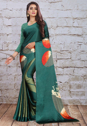 Digital Printed Satin Saree in Dark Green
