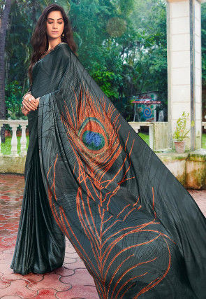 Digital Printed Satin Saree in Dark Grey