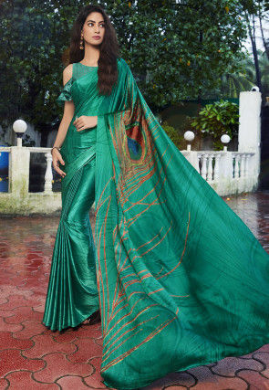 Digital Printed Satin Saree in Green