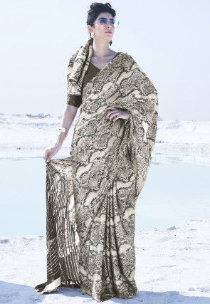 Digital Printed Satin Saree in Light Beige
