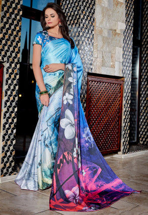 Digital Printed Satin Saree in Light Blue