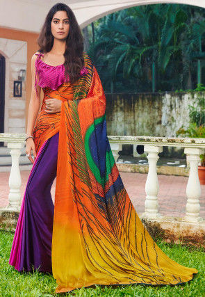 Digital Printed Satin Saree in Multicolor