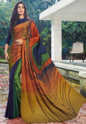 Digital Printed Satin Saree in Multicolor