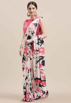 Digital Printed Satin Saree in Off White and Peach