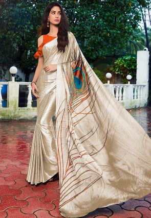 Digital Printed Satin Saree in Off White