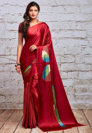 Digital Printed Satin Saree in Red