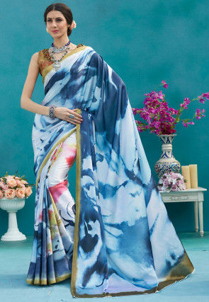 Digital Printed Satin Saree in Shaded Blue