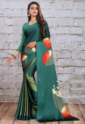 Digital Printed Satin Saree in Teal Green