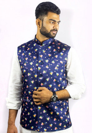Digital Printed Satin Silk Nehru Jacket in Dark Blue