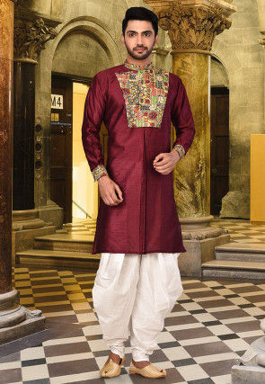 Digital Printed Silk Kurta in Maroon