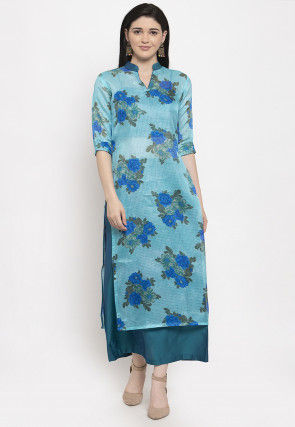 Digital Printed Supernet Kurta with Skirt in Blue