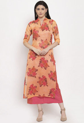 Digital Printed Supernet Kurta with Skirt in Orange