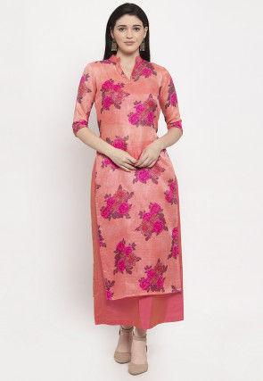 Digital Printed Supernet Kurta with Skirt in Peach