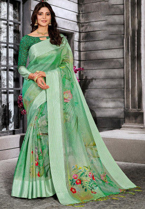 Digital Printed Supernet Saree in Light Green