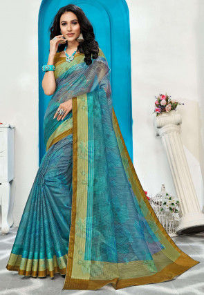 Digital Printed Supernet Saree in Teal Blue