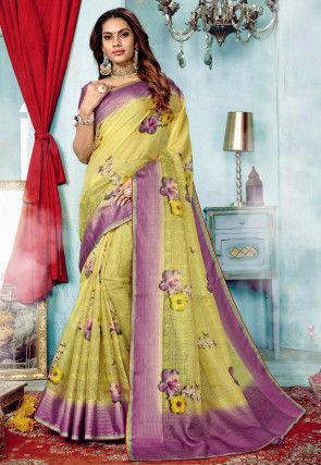 Digital Printed Supernet Saree in Yellow
