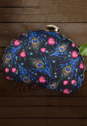Digital Printed Synthetic Clutch Bag in Navy Blue