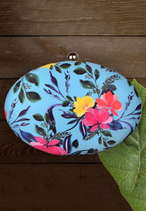 Digital Printed Synthetic Oval Box Clutch Bag in Light Blue
