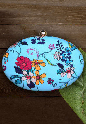 Digital Printed Synthetic Oval Box Clutch Bag in Sky Blue