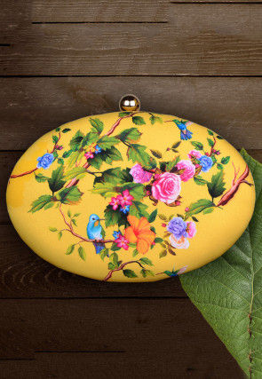 Digital Printed Synthetic Oval Box Clutch Bag in Yellow