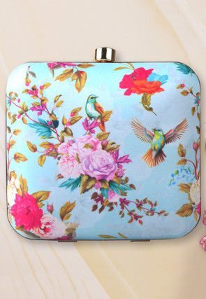 Digital Printed Synthetic Square Box Clutch Bag in Sky Blue