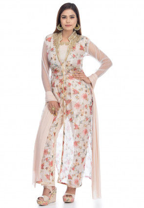 Digital Printed Tissue Jacket Style Pakistani Suit in White
