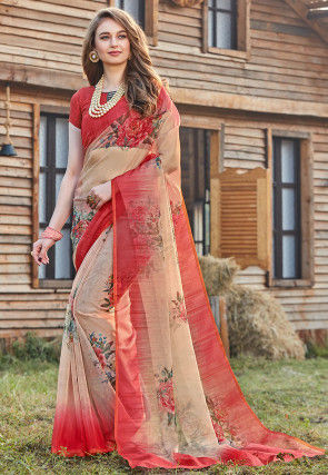 Digital Printed Tissue Saree in Beige