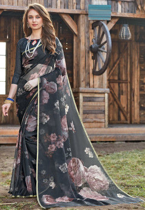 Digital Printed Tissue Saree in Black