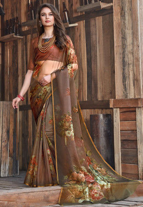 Digital Printed Tissue Saree in Brown