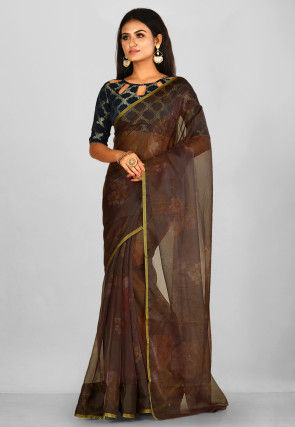 Digital Printed Tissue Saree in Dark Brown