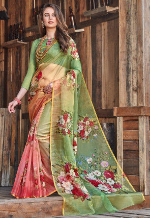 Digital Printed Tissue Saree in Shaded Green and Pink